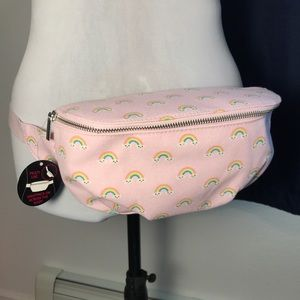 Pink rainbow with clouds fanny pack, adjustable